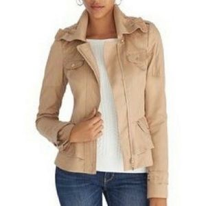 WHBM Elle moto jacket tan ruffled peplum size 6